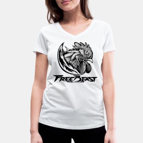 FREEBEAST - COQ SILVER - T-Shirt blanc femme - T-shirt bio col V Stanley & Stella Femme