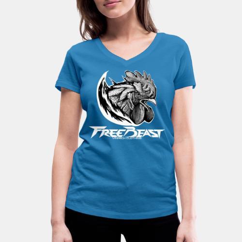 FREEBEAST - COQ SILVER - T-Shirt bleu femme - T-shirt bio col V Stanley & Stella Femme