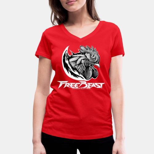 FREEBEAST - COQ SILVER - T-Shirt rouge femme - T-shirt bio col V Stanley & Stella Femme