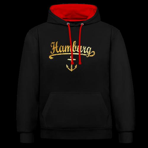 Hamburg Anker Hoodie - Kontrast-Hoodie