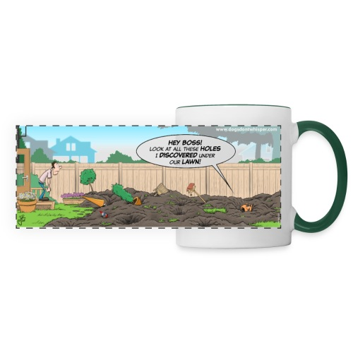 Dog digging up the yard / discovering holes under the lawn - Panoramic Mug