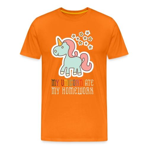 Quote, High School, School, Unicorn, Saying, Pun, Funny, Fun, Homework, Unicorns Horse Mythical, Ate My Homework - Men's Premium T-Shirt
