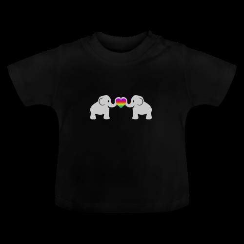 Süße Baby Elefanten Regenbogen Herz Baby T-Shirt - Baby T-Shirt