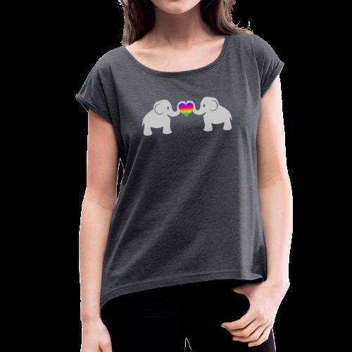 Süße Baby Elefanten Regenbogen Herz T-Shirt - Frauen T-Shirt mit gerollten Ärmeln