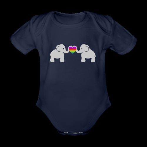 Süße Baby Elefanten Regenbogen Herz Baby Body - Baby Bio-Kurzarm-Body