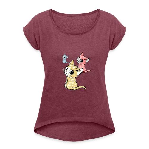 Kätzchen - Frauen T-Shirt mit gerollten Ärmeln