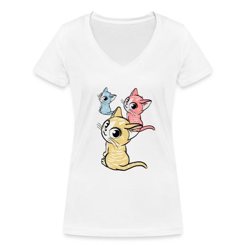 Kätzchen - Frauen Bio-T-Shirt mit V-Ausschnitt von Stanley & Stella
