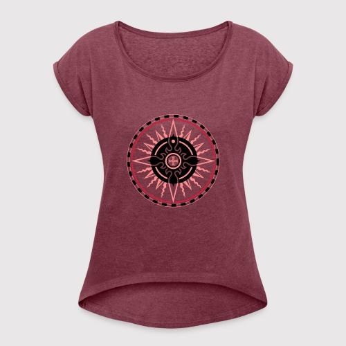 ROSE OF THE SEAS - Frauen T-Shirt mit gerollten Ärmeln