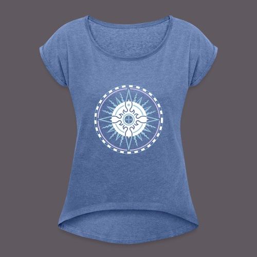 Wind Rose - Frauen T-Shirt mit gerollten Ärmeln