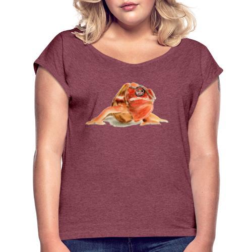 Rotes Chamäleon - Frauen T-Shirt mit gerollten Ärmeln
