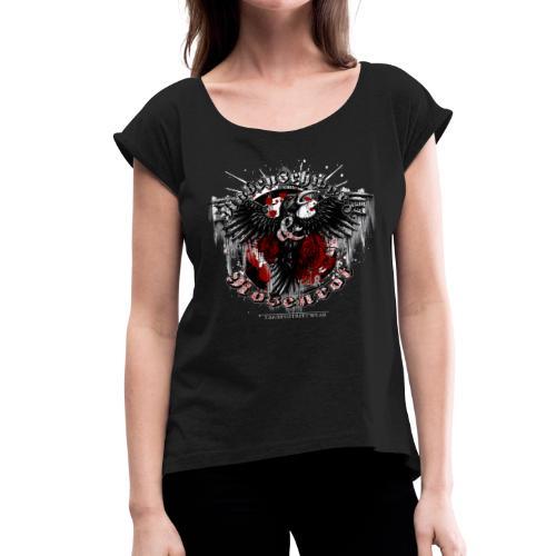 Rabenschwarz & Rosenrot - Frauen T-Shirt mit gerollten Ärmeln