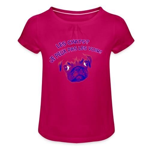T-shirt à fronces au col Fille
