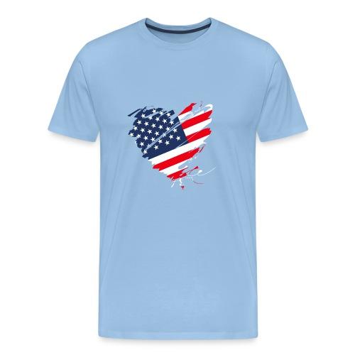 USA Amerika Sterne und Streifen Herz Fahne Flagge - Männer Premium T-Shirt