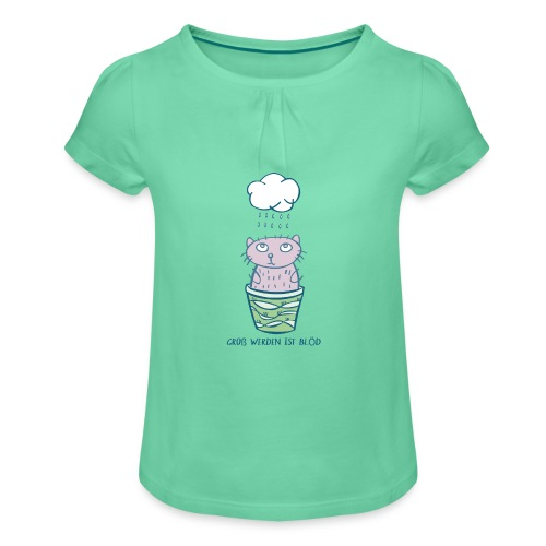 petcontest, kleine Katze mit Regenwolke - Mädchen-T-Shirt mit Raffungen