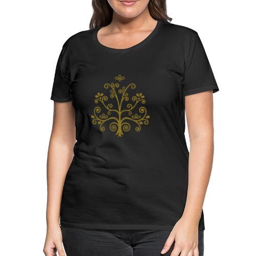 Arbol de la Vida impresión dorada - Camiseta premium mujer