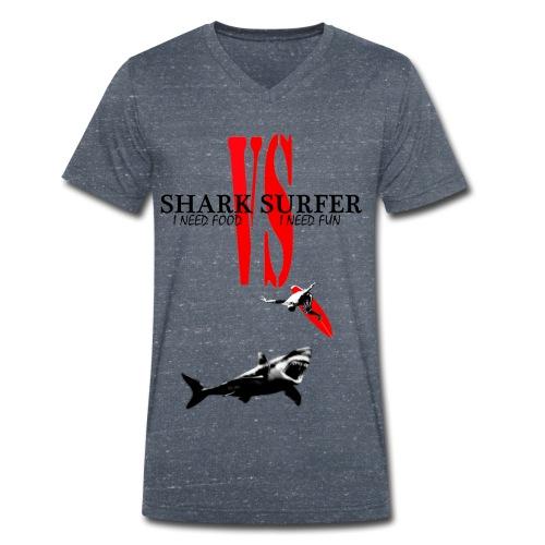 T-shirt Homme Shark Vs Surfer - T-shirt bio col V Stanley & Stella Homme