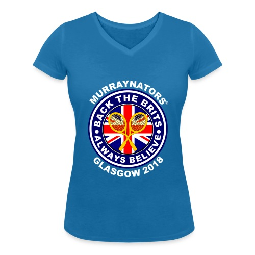 Murraynators - Davis Cup Glasgow - Ladies' V-Neck T. Blue. - Women's Organic V-Neck T-Shirt by Stanley & Stella