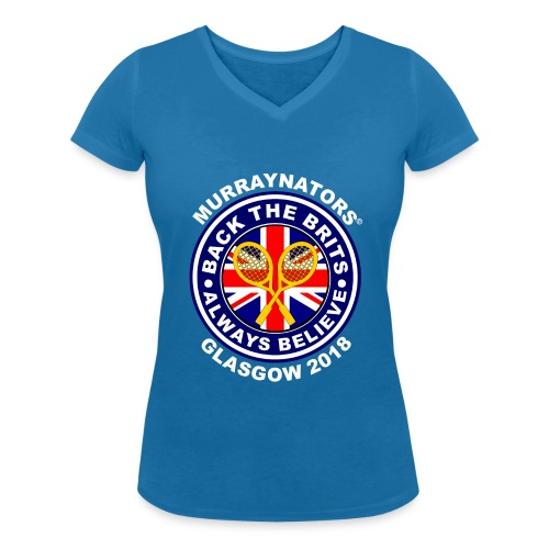 Murraynators - Davis Cup Glasgow - Ladies' V-Neck T. Blue. - Women's Organic V-Neck T-Shirt by Stanley & Stella