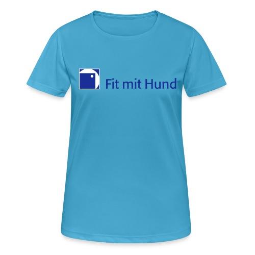Fit mit Hund® T-Shirt Frau - helle Farben (atmungsaktiv) - Frauen T-Shirt atmungsaktiv