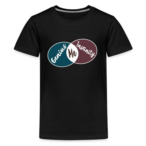 Nerd Geek Spruch Genie Wahnsinn Schnittmenge Teenager T-Shirt - Teenager Premium T-Shirt