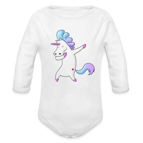 Dabbing Unicorn Premium Longarm-Body Baby - Baby Bio-Langarm-Body
