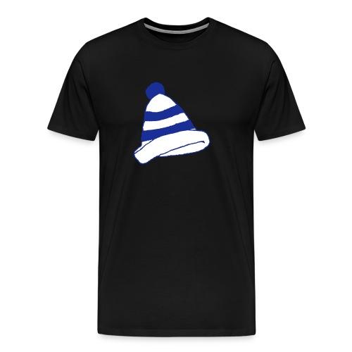 Kerbkappe Blau/Weiß (T-Shirt/Schwarz) - Männer Premium T-Shirt
