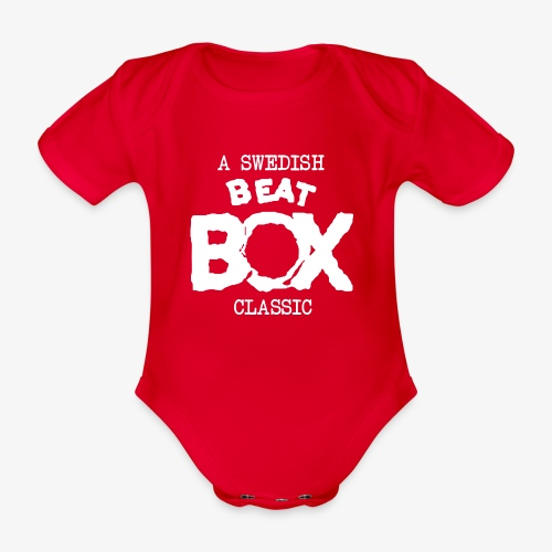 Baby body: Beat Box - A Swedish Classic [multiple colors + white logo] - Ekologisk kortärmad babybody