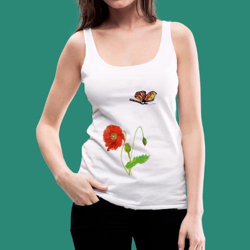 Mohnblumen und Schmetterling - Frauen Premium Tank Top