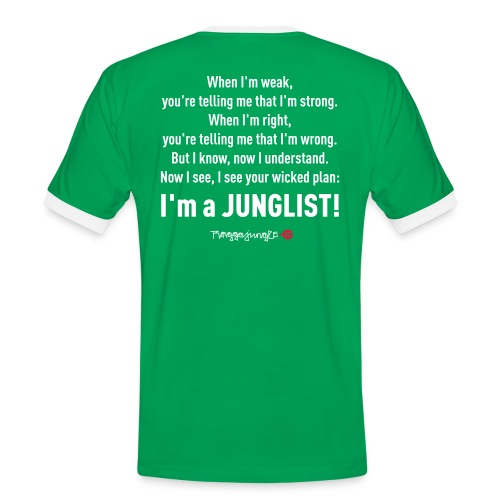 TRUE JUNGLIST - shirt lyrics #1 green/white - Men's Ringer Shirt