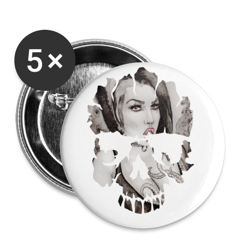 skull-logo tentacle-girl Buttons & Anstecker - Buttons mittel 32 mm