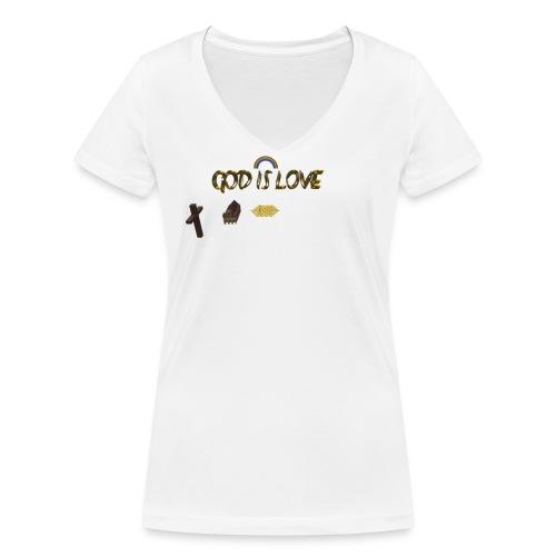 GOD IS LOVE - Frauen Bio-T-Shirt mit V-Ausschnitt von Stanley & Stella