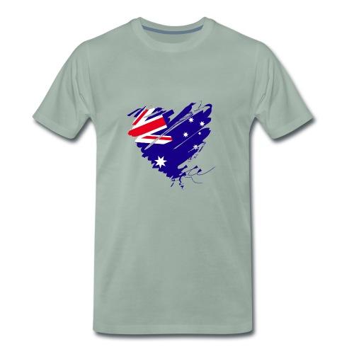 Australien Sydney Kontinent Grunge Herz Flagge - Männer Premium T-Shirt