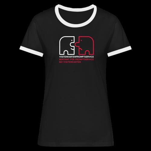 Visitenkartenpromptservice – berühmt für Promptservice bei Visitenkarten - Frauen Kontrast-T-Shirt