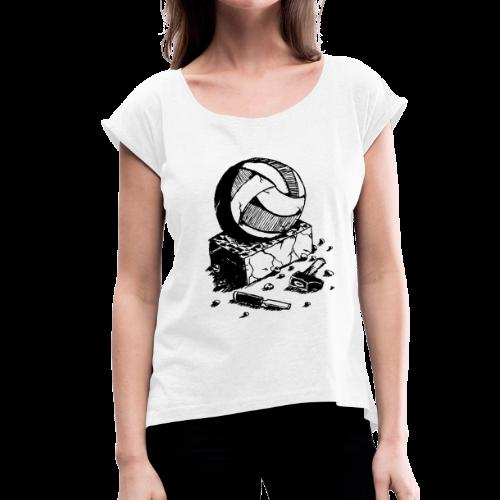 T-Shirt Femme Stone Blanc - T-shirt à manches retroussées Femme