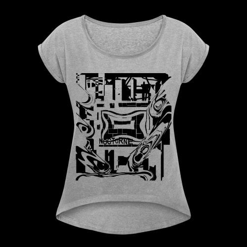 NOCTURNE- t-shirt donna con risvolti- scollatura ampia- 60 %cotone 40%poliester - Maglietta da donna con risvolti