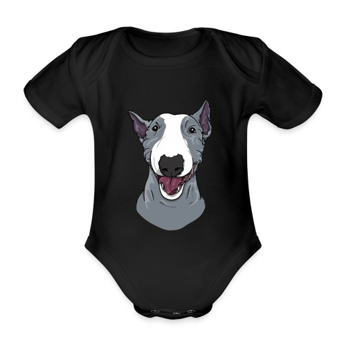 Happy Blue Bully  - Organic Short-sleeved Baby Bodysuit