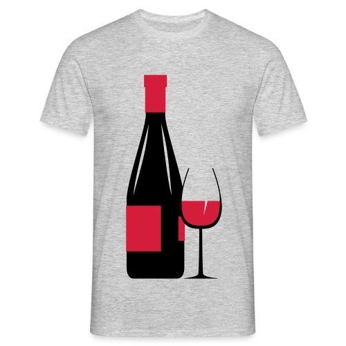 verre et bouteille de vin rouge - T-shirt Homme