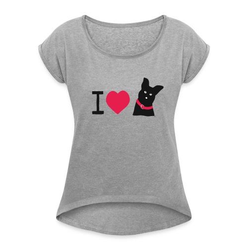 I love Dogs  - Frauen T-Shirt mit gerollten Ärmeln