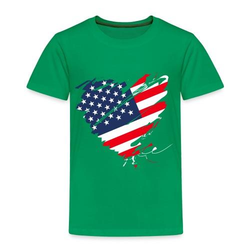 USA Amerika Sterne und Streifen Herz Fahne Flagge - Kinder Premium T-Shirt
