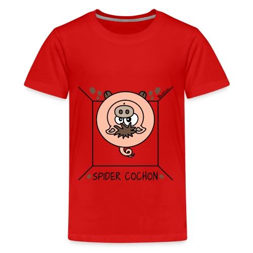 T-shirt P Ado Spider Cochon Homer - T-shirt Premium Ado