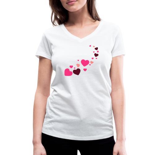 Herzen - Frauen Bio-T-Shirt mit V-Ausschnitt von Stanley & Stella