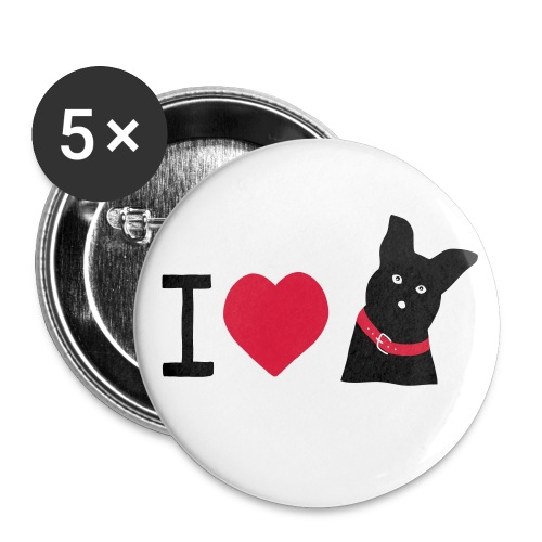 I love Dogs - Buttons mittel 32 mm (5er Pack)