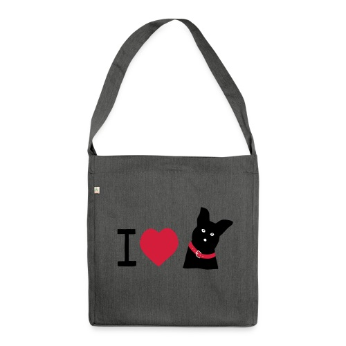 I love Dogs - Schultertasche aus Recycling-Material