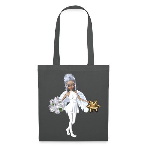Engel mit Blume und Sternchen - Stoffbeutel