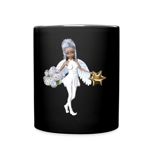 Engel mit Blume und Sternchen - Tasse einfarbig