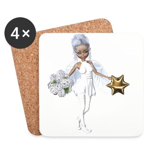 Engel mit Blume und Sternchen - Untersetzer (4er-Set)