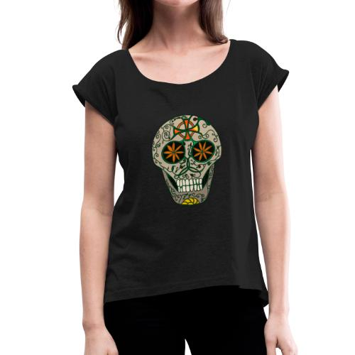 Growing Skull - Women's T-Shirt with rolled up sleeves