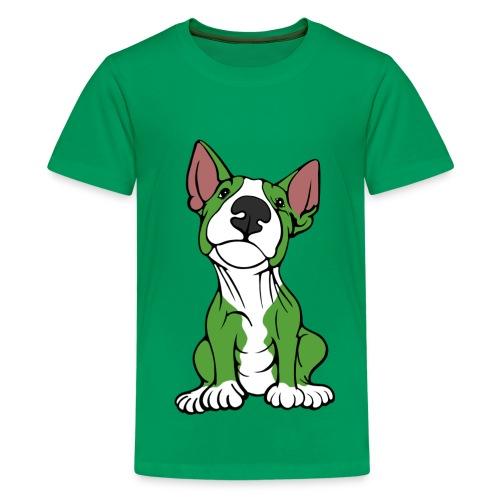 Cheeky Bull Terrier Green  - Teenage Premium T-Shirt