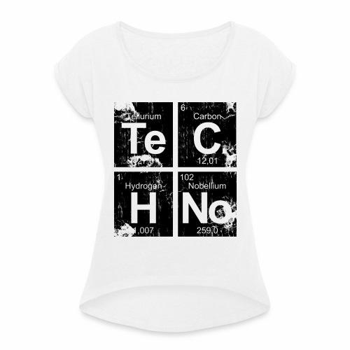 Techno Broken Elements - T-Shirt - Frauen T-Shirt mit gerollten Ärmeln