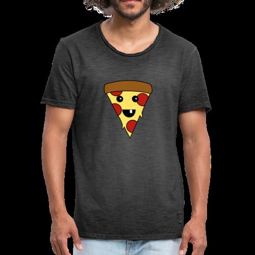 Fröhliche Pizza T-Shirt - Männer Vintage T-Shirt